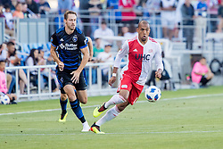 June 13, 2018 - San Jose, CA, U.S. - SAN JOSE, CA - JUNE 13: New England Revolution Forward Teal Bunbury (10) chases down the ball during the MLS game between the New England Revolution and the San Jose Earthquakes on June 13, 2018, at Avaya Stadium in San Jose, CA. The game ended in a 2-2 tie. (Photo by Bob Kupbens/Icon Sportswire) (Credit Image: © Bob Kupbens/Icon SMI via ZUMA Press)