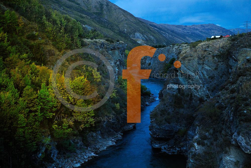 Richard Furhoff 100101_NewZealand_DSC4251.tif .Evening Dusk, Kawarou Gorge, New Zealand...
