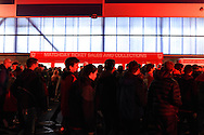 a large crowd is expected in Cardiff as fans collect their tickets. Euro 2016 qualifying group B match, Wales v Bosnia- Herzegovina at the Cardiff city Stadium in Cardiff, South Wales on Friday 10th Oct 2014.<br /> pic by Andrew Orchard, Andrew Orchard sports photography.