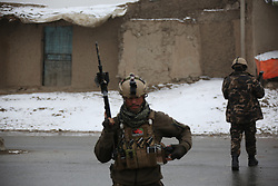 KABUL, Jan. 29, 2018  Afghan security personnel cordon off the site of the attack on a military university in Kabul, capital of Afghanistan, on Jan. 29, 2018. Gunmen attacked a military university in Kabul, capital of Afghanistan early on Monday, triggering explosions and gun fight, with unknown casualties, sources and witnesses said.   gj) (Credit Image: © Rahmat Alizadah/Xinhua via ZUMA Wire)