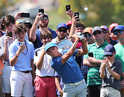 September 21, 2017 - Atlanta, GA, USA - The gallery snaps photos as Rickie Fowler hits his second shot toward the 1st hole in the opening round of the Tour Championship on Thursday, Sept. 21, 2017, at Eastlake Golf Club in Atlanta. (Credit Image: © Curtis Compton/TNS via ZUMA Wire)