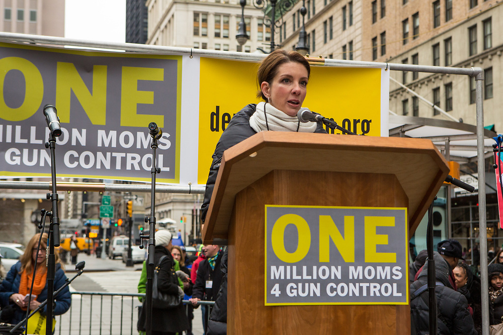 Shannon Watts, founder of One Million Moms for Gun Control, addresses the crowd. Watts is from Indiana, and was angered by the shootings in Newtown.