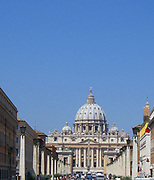 The Papal Basilica of Saint Peterislocated within the Vatican City. Saint Peter's Basilica has the largest of any Christian church in the world. In Roman Catholic tradition, the basilica is the burial site of its namesake Saint Peter, who was one of the twelve apostles of Jesus and, according to tradition, the first Bishop of Rome and therefore first in the line of the papal succession. Construction of the present basilica, over the old Constantinian basilica, began on 18 April 1506 and was completed on 18 November 1626.