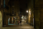 Nightlight in the streets of Santiago de Compostela in Galicia, Northern Spain