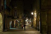 Nightlight in the streets of Santiago de Compostela in Galicia, Northern Spain