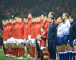 Wales players sing the anthem<br /> <br /> Photographer Simon King/Replay Images<br /> <br /> Under Armour Series - Wales v South Africa - Saturday 24th November 2018 - Principality Stadium - Cardiff<br /> <br /> World Copyright © Replay Images . All rights reserved. info@replayimages.co.uk - http://replayimages.co.uk