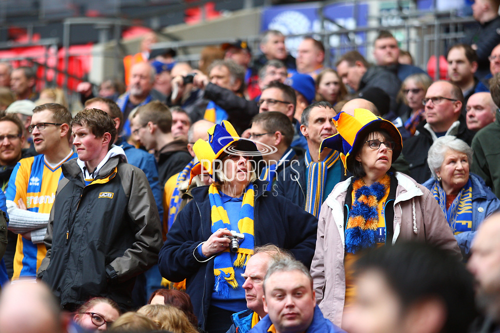 Shrewsbury Town fans during the EFL Trophy Final match between Lincoln City and Shrewsbury Town at Wembley Stadium, London, England on 8 April 2018. Picture by John Potts.