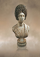 Roman marble sculpture bust of an unkown women, Late Trajan period 110-117 AD , inv 6074 Farnese Collection, Naples  Museum of Archaeology, Italy ..<br /> <br /> If you prefer to buy from our ALAMY STOCK LIBRARY page at https://www.alamy.com/portfolio/paul-williams-funkystock/greco-roman-sculptures.html . Type -    Naples    - into LOWER SEARCH WITHIN GALLERY box - Refine search by adding a subject, place, background colour, museum etc.<br /> <br /> Visit our ROMAN WORLD PHOTO COLLECTIONS for more photos to download or buy as wall art prints https://funkystock.photoshelter.com/gallery-collection/The-Romans-Art-Artefacts-Antiquities-Historic-Sites-Pictures-Images/C0000r2uLJJo9_s0