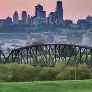 Downtown Kansas City, Missouri skyline at sunrise seen from Strawberry Hill area of Kansas City, Kansas.