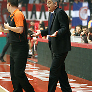 Anadolu Efes's coach Oktay Mahmuti during their Turkish Airlines Euroleague Basketball playoffs Game 5 Olympiacos between Anadolu Efes at SEF Indoor Hall in Piraeus, in Greece, Friday, April 26, 2013. Photo by TURKPIX
