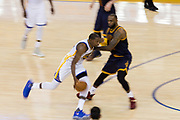 Golden State Warriors forward Kevin Durant (35) takes the ball to the basket against Cleveland Cavaliers forward LeBron James (23) during Game 1 of the NBA Finals at Oracle Arena in Oakland, Calif., on June 1, 2017. (Stan Olszewski/Special to S.F. Examiner)