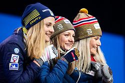 February 22, 2019 - Seefeld In Tirol, AUSTRIA - 190222 Silver medalist Stina Nilsson of Sweden, gold medalist Maiken Caspersen Falla of Norway and bronze medalist Mari Eide of Norway pose with their medals at the medal ceremony for women´s cross-country skiing sprint during the FIS Nordic World Ski Championships on February 22, 2019 in Seefeld in Tirol..Photo: Joel Marklund / BILDBYRÃ…N / kod JM / 87883 (Credit Image: © Joel Marklund/Bildbyran via ZUMA Press)