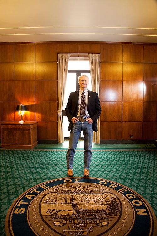 Oregon Governor John Kitzhaber in the Governor's Office at the Oregon State Capitol in Salem Oregon