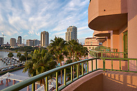 Morning view of Vinoy Hotel balconies, the St. Petersburg skyline, and clouds from the Vinoy Hotel in St. Petersburg, Florida. Image taken with a Nikon D2xs camera and 14-28 mm f/2.8 len (ISO 100, 20 mm, f/11, 1/30 sec).