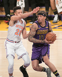 January 4, 2019 - Los Angeles, California, U.S - Kevin Knox #20 of the New York Knicks defends against Michael Beasley #11 of the Los Angeles Lakers during their NBA game on Friday January 4, 2019 at the Staples Center in Los Angeles, California. (Credit Image: © Prensa Internacional via ZUMA Wire)