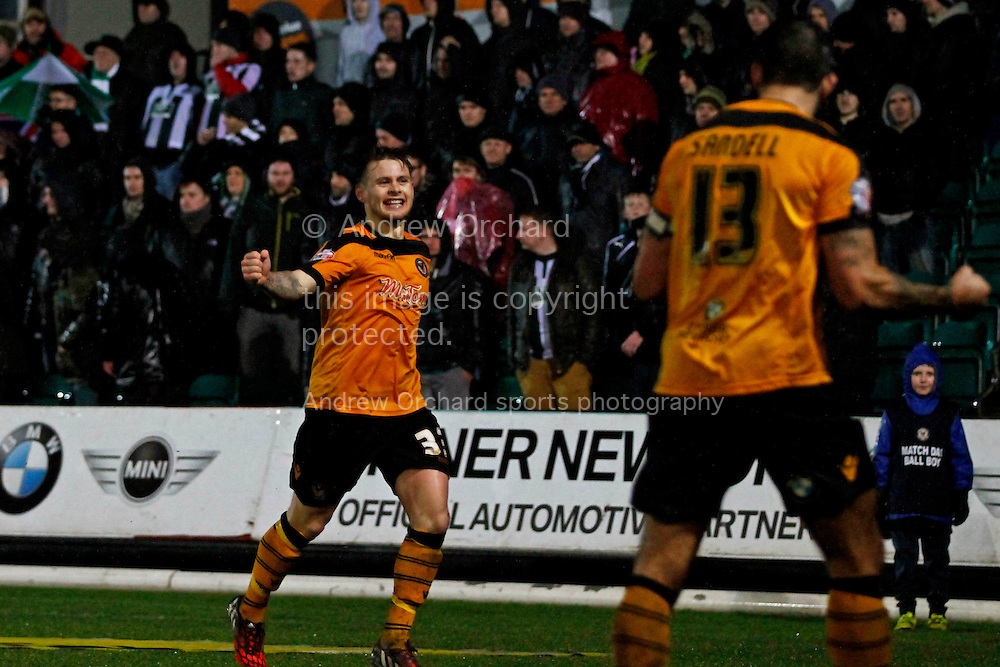 Mark Byrne of Newport County (l) celebrates after scoring his side's second goal with captain Andy Sandell. Skybet football league two match, Newport County v Plymouth Argyle at Rodney Parade in Newport, South Wales on Boxing Day, Friday 26th December 2014<br /> pic by Mark Hawkins, Andrew Orchard sports photography.