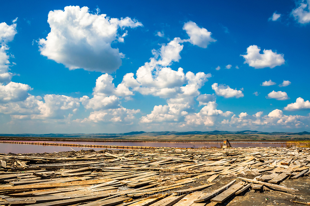 Planks from dikes in a salt lake