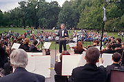 Saint Petersburg, Russia, August 2002..One of the city's many summer outdoor events, an evening of light classical music and jazz in Mikhailovsky Gardens.