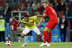 (l-r) Carlos Bacca of Colombia, Eric Dier of England during the 2018 FIFA World Cup Russia round of 16 match between Columbia and England at the Spartak stadium  on July 03, 2018 in Moscow, Russia