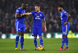 Cardiff City's Joe Ralls (centre) lines up a freekick during the Premier League match at the Cardiff City Stadium.