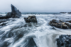 Waves crashing on shore and rocks of Atlantic coast, Barnabaun, County Mayo, Ireland
