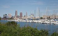 Cleveland, Ohio skyline showing Lake Erie