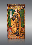 Gothic Aaltarpiece of Saint Barbara, 3rd quarter of the 15th century, tempera and gold leaf on for wood.  National Museum of Catalan Art, Barcelona, Spain, inv no: MNAC   114746-7. . .<br /> <br /> If you prefer you can also buy from our ALAMY PHOTO LIBRARY  Collection visit : https://www.alamy.com/portfolio/paul-williams-funkystock/gothic-art-antiquities.html  Type -     MANAC    - into the LOWER SEARCH WITHIN GALLERY box. Refine search by adding background colour, place, museum etc<br /> <br /> Visit our MEDIEVAL GOTHIC ART PHOTO COLLECTIONS for more   photos  to download or buy as prints https://funkystock.photoshelter.com/gallery-collection/Medieval-Gothic-Art-Antiquities-Historic-Sites-Pictures-Images-of/C0000gZ8POl_DCqE