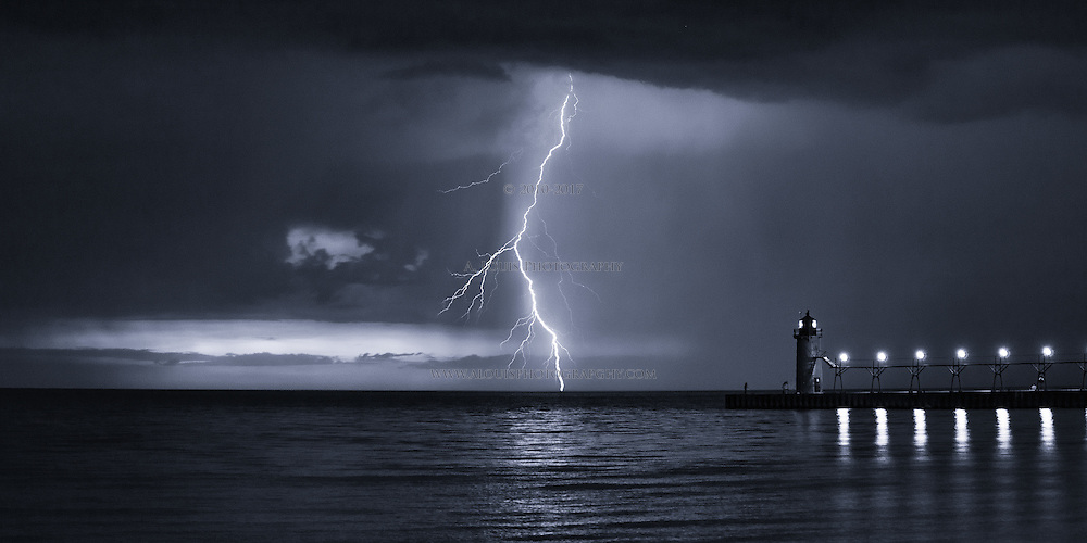 """Lightning bolt in monochrome. This image is natively a 10x20"""" panoramic print and is recommended for metallic paper."""