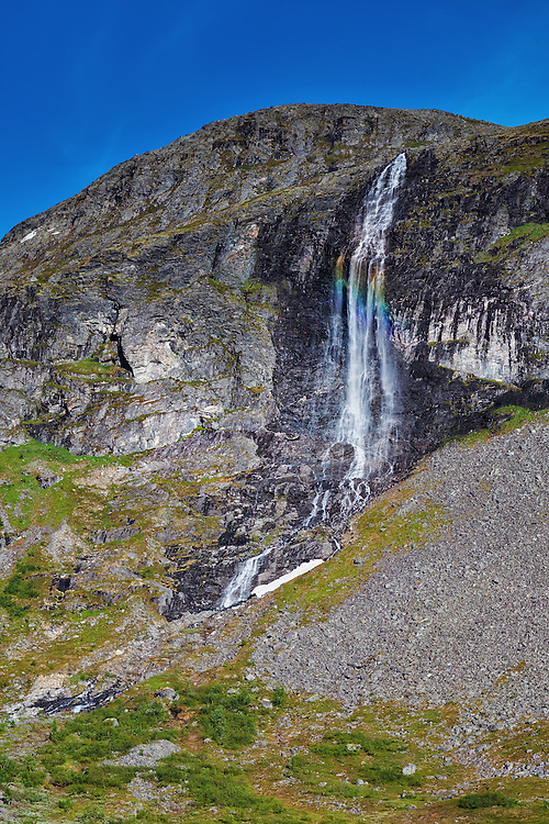 Norway - Møre og Romsdal - Norddal - Valldalen - Waterfall with rainbow
