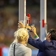 BRUSSELS, BELGIUM:  September 3:   Officials try and fix a technical problem with the pole vault as Armand Duplantis  of Sweden waits to attempt a world record jump of 6.19M during the Wanda Diamond League 2021 Memorial Van Damme Athletics competition at King Baudouin Stadium on September 3, 2021 in  Brussels, Belgium. (Photo by Tim Clayton/Corbis via Getty Images)