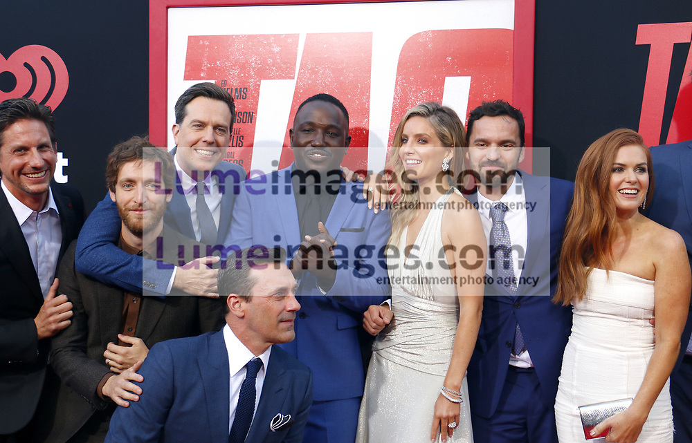Thomas Middleditch, Jeff Tomsic, Jake Johnson, Ed Helms, Annabelle Wallis, Hannibal Buress, Isla Fisher and Jon Hamm at the Los Angeles premiere of 'Tag' held at the Regency Village Theatre in Westwood, USA on June 7, 2018.