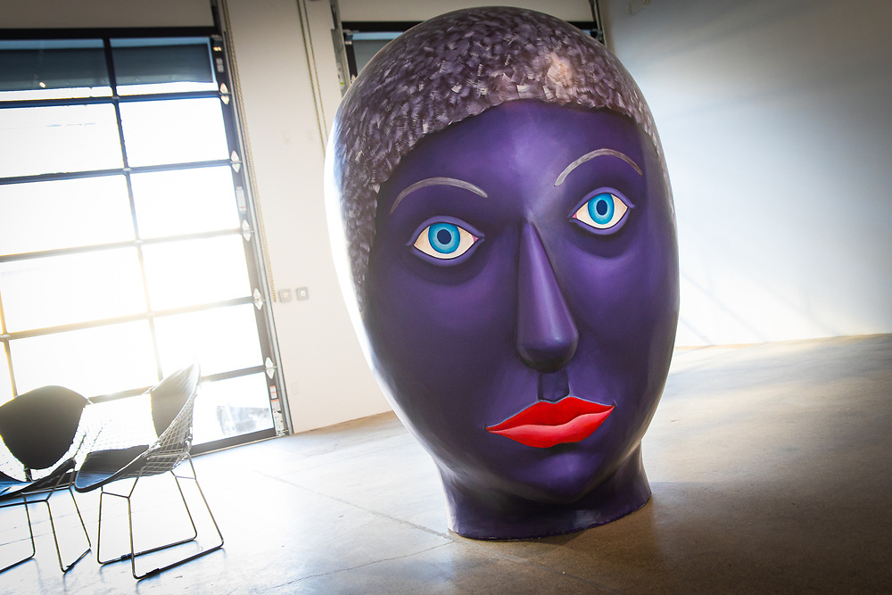 Giant head sculpture at the Rubell Art Museum