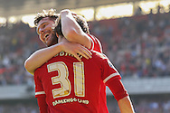 Middlesbrough forward David Nugent ce;berates with Middlesbrough forward, on loan from Watford, Diego Fabbrini during the Sky Bet Championship match between Middlesbrough and Leeds United at the Riverside Stadium, Middlesbrough, England on 27 September 2015. Photo by Simon Davies.