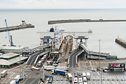 Trucks loading onto DFDS and P&O car and passenger ferries, running up to 40 times a day, from Dover to Calais. With Brexit, international check ups and paperwork could cause severe delays, with hundreds of lorries crossing every day, that could add hours if not days of processing
