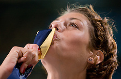 Blanka Vlasic of Croatia celebrates at the medal ceremony after she won in the women's High Jump Final during day six of the 12th IAAF World Athletics Championships at the Olympic Stadium on August 20, 2009 in Berlin, Germany. (Photo by Vid Ponikvar / Sportida)
