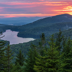 Sunset view from Owl's Head Mountain in Vermont's Groton State Forest.