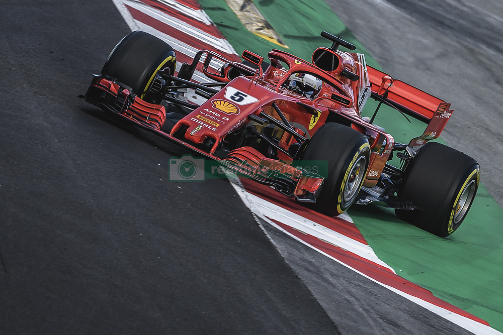 March 6, 2018 - Barcelona, Catalonia, Spain - SEBASTIAN VETTEL (GER) drives in his Ferrari SF-71H during day five of Formula One testing at Circuit de Catalunya (Credit Image: © Matthias Oesterle via ZUMA Wire)
