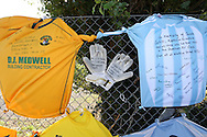 Tributes outside the stadium entrance before the FA Vase 1st Qualifying Round match between Worthing United and East Preston FC at the Robert Eaton Memorial Ground, Worthing, United Kingdom on 6 September 2015. The first home match for Worthing United since losing team mates Matthew Grimstone and Jacob Schilt in the Shoreham air show disaster.