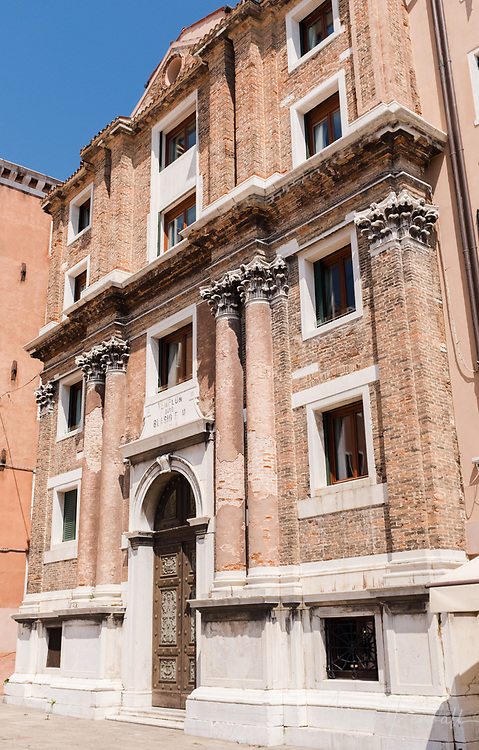 Exterior of a stately building in Venice, Italy