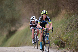 Lauren Stephens (Tibco) takes to the front of the break at Strade Bianche - Elite Women. A 127 km road race on March 4th 2017, starting and finishing in Siena, Italy. (Photo by Sean Robinson/Velofocus)