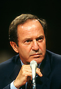 Publisher and real estate developer Mort Zuckerman testifies in the Senate Select Committee on Intelligence July 17, 1996 in Washington, DC.  The hearings examined the Central Intelligence Agency policy on the use of <br /> journalists as cover for intelligence operations