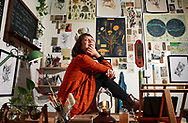 Artist Mary Juhn in her studio in Barrio Logan on Wednesday, September 1, 2021.(Photo by Sandy Huffaker for The San Diego Union-Tribune)
