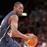 15 July 2012: Yannick Bokolo of Team France brings the ball upcourt during a pre-Olympic exhibition game won 75-70 by Spain over France, at the Palais Omnisports de Paris Bercy, in Paris, France.