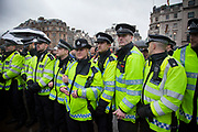London, UK. Saturday 13th April 2013. Police in attendance as hundreds of people gather for the Margaret Thatcher Death Party in Trafalgar Square, to celebrate the late Prime Minister's passing away.
