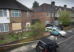 © Licensed to London News Pictures. 11/04/2018. London, UK. Police are still guarding the house of Richard Osborn-Brooks. Henry Vincent was killed as he burgled the home of 78 year old Richard Osborn-Brooks. Mr Osborn-Brooks was arrested for murder but later released without charge. Friends and family of Henry Vincent have had floral tributes they placed near the scene repeatedly torn down by locals. Photo credit: Peter Macdiarmid/LNP