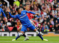 Football - 2021 / 2022 Pre-Season Friendly - Manchester United vs Everton - Old Trafford - Saturday 7th August 2021<br /> <br /> Mason Greenwood of Manchester United is challenged by Mason Holgate of Everton, at Old Trafford.<br /> <br /> COLORSPORT/ALAN MARTIN