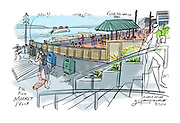 The concrete and wooden eyesore separates both public spaces, and prevents visitors from walking between the new Market Front area and Victor Steinbrueck Park. (Gabriel Campanario / The Seattle Times, 2017)