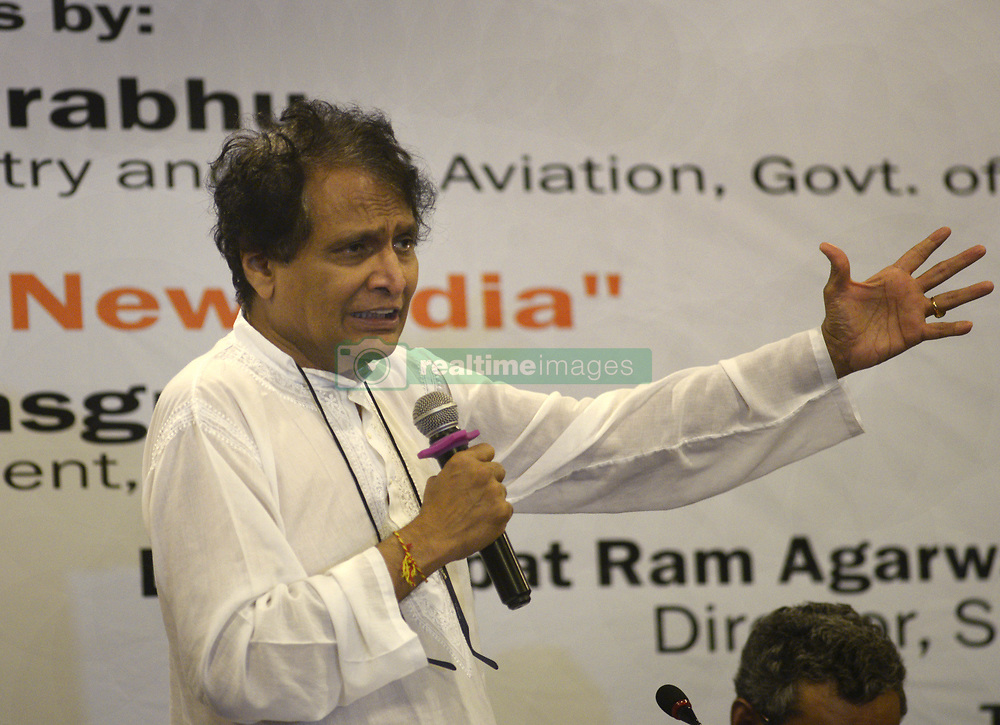"""April 27, 2019 - Kolkata, West Bengal, India - Union Minister for Commerce & Industry and civil aviation Suresh Prabhu address on """"Perspective on New India"""" organized by Dr Syama Prasad Mookerjee Research Foundation. (Credit Image: © Saikat Paul/Pacific Press via ZUMA Wire)"""