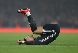 02 December 2017 London : Premier League Football : Arsenal v Manchester United - Marcus Rojo of United makes the most of a minor incident.<br /> (photo by Mark Leech)