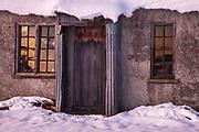 Last light, 1939 farm cottage near St Bathans, Maniototo, Central Otago